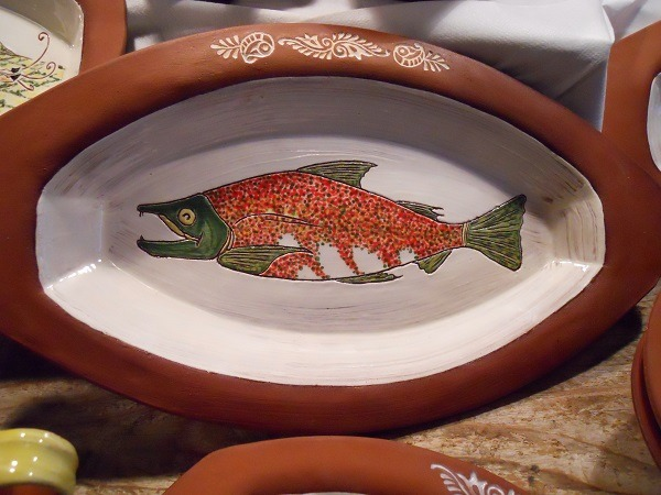 Oven safe ceramic salmon baking dish